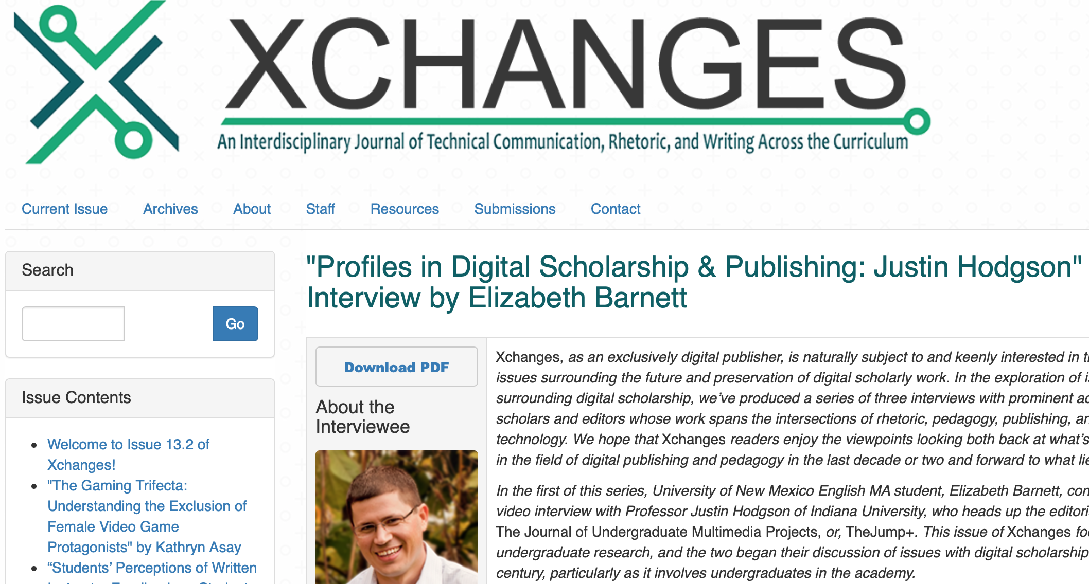 "Image capture of the Xchanges journal webpage: ""Profiles in Digital Scholarship & Publishing: Justin Hodgson."""