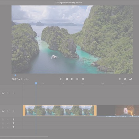 Screen capture of the editor interface of Adobe Premiere Rush